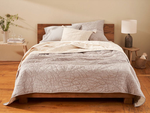 Manzanita Pewter Organic Quilt by Coyuchi | Fig Linens and Home