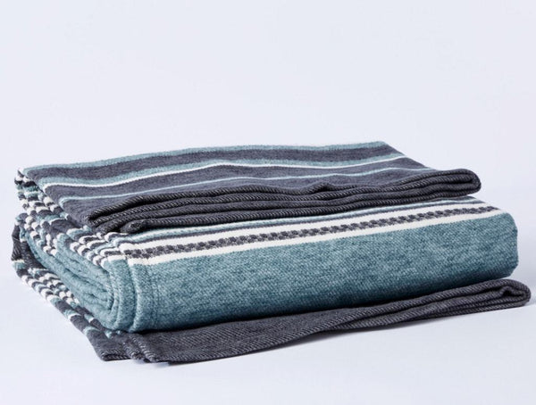 Mariposa Aqua Organic Blanket by Coyuchi | Fig Linens and Home