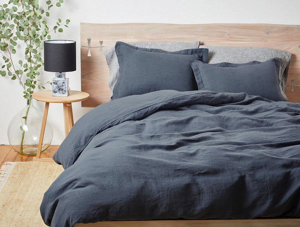 Harbor Blue Organic Relaxed Linen Bedding by Coyuchi | Fig Linens