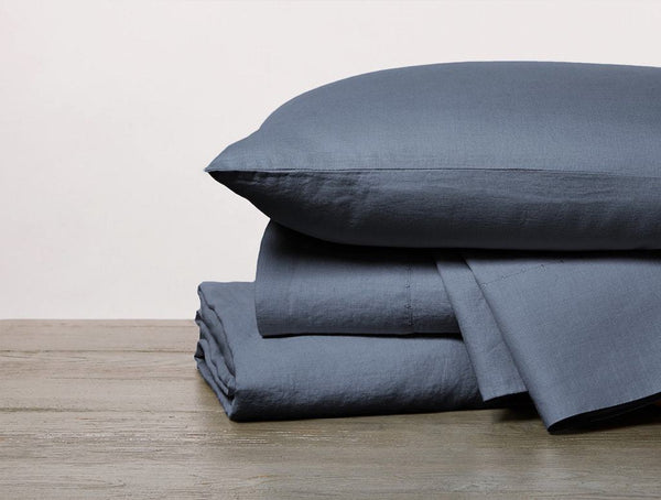 Harbor Blue Organic Relaxed Linen Duvet Cover and Sheet Sets by Coyuchi | Fig Linens