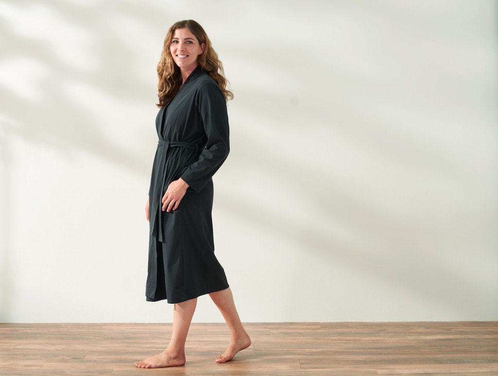 Solstice Deep Graphite Organic Relaxed Robe by Coyuchi