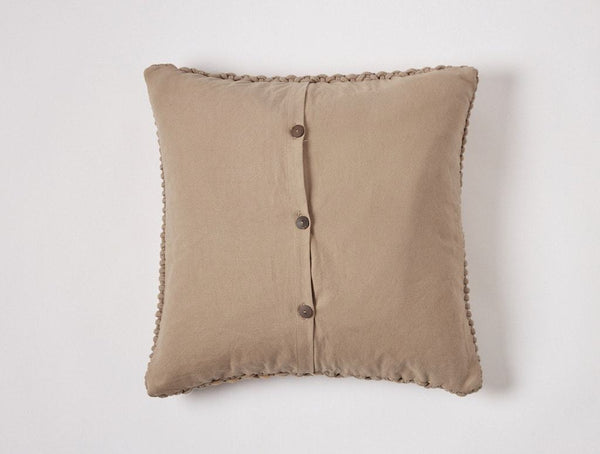 Fig Linen - Taupe Woven Rope Decorative Pillow by Coyuchi - Back