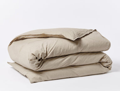 Fig Linens - Hazel Chambray Organic Crinkled Percale Duvet Cover by Coyuchi