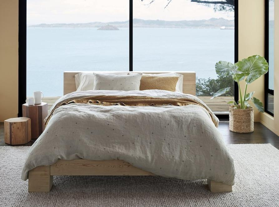 Scattered Embroidered Organic Linen Bedding by Coyuchi