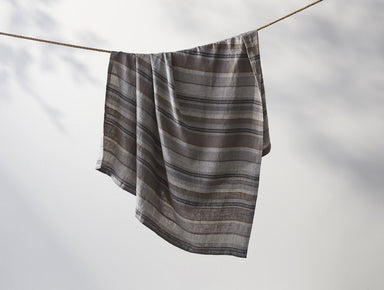 Fig Linens - Mojave Gray Striped Linen Throw - Coyuchi Organic Bedding