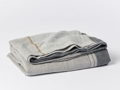 Mojave Gray Color-block Organic Linen Blanket by Coyuchi | Fig Linens