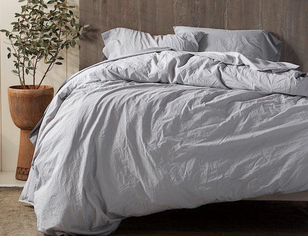 Pewter Organic Crinkled Percale Duvet by Coyuchi | Fig Linens