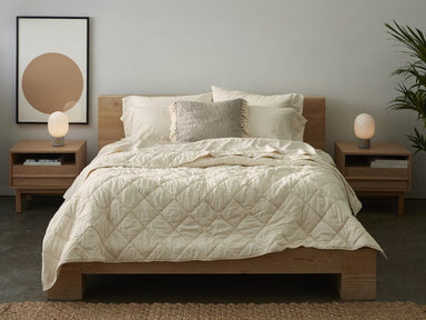Fig Linens - Undyed Diamond Stitched Organic Cotton Comforter by Coyuchi - Lifestyle