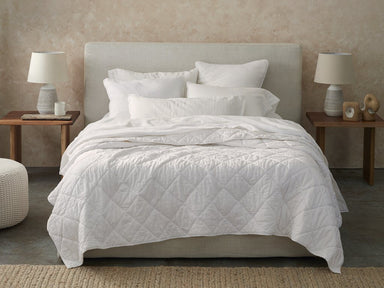 Fig Linens - White Diamond Stitched Organic Cotton Comforter by Coyuchi