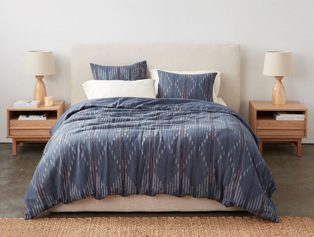 fig linens and home - morelia moonlight blue bedding - coyuchi
