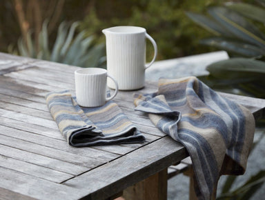 Fig Linens - Mojave Indigo Organic Linen Kitchen Towels by Coyuchi - Lifestyle