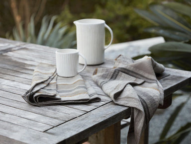 Fig Linens - Mojave Gray Organic Linen Kitchen Towels by Coyuchi - Lifestyle
