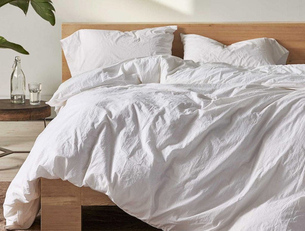 Alpine White Organic Crinkled Percale Duvet by Coyuchi | Fig Linens