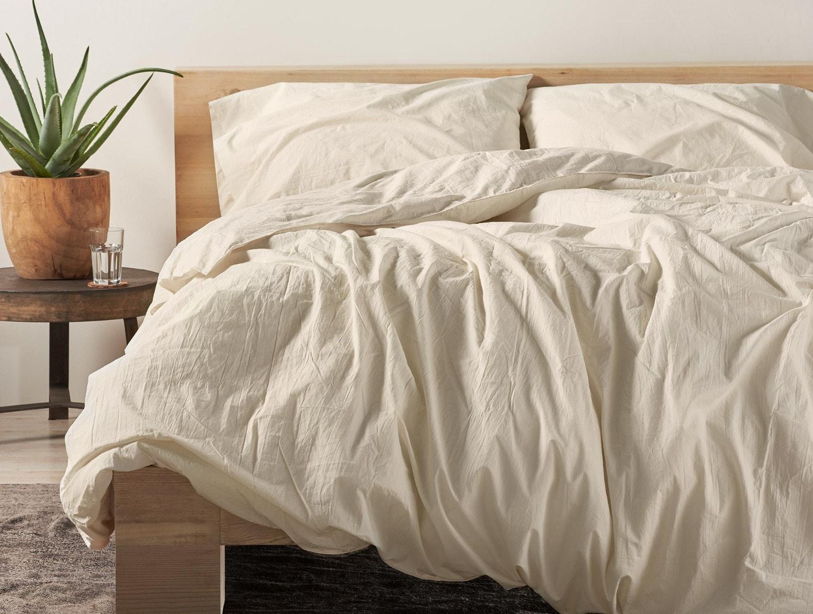 Undyed Organic Crinkled Percale Duvet Cover by Coyuchi