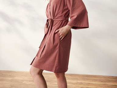 Fig Linens - Solstice Rosehip Organic Kimono Robe with Pockets by Coyuchi