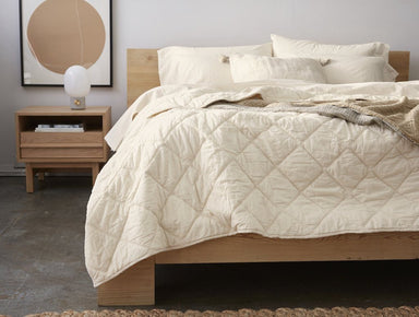 Fig Linens - Undyed Diamond Stitched Organic Cotton Comforter by Coyuchi