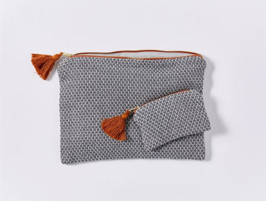 Mediterranean Shadow Organic Pouch Set by Coyuchi | Fig Linens