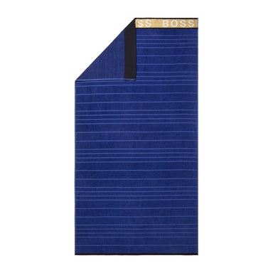 Fig Linens - Striped Logo Navy Beach Towel by Hugo Boss