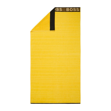 Fig Linens - Striped Logo Yellow Beach Towel by Hugo Boss