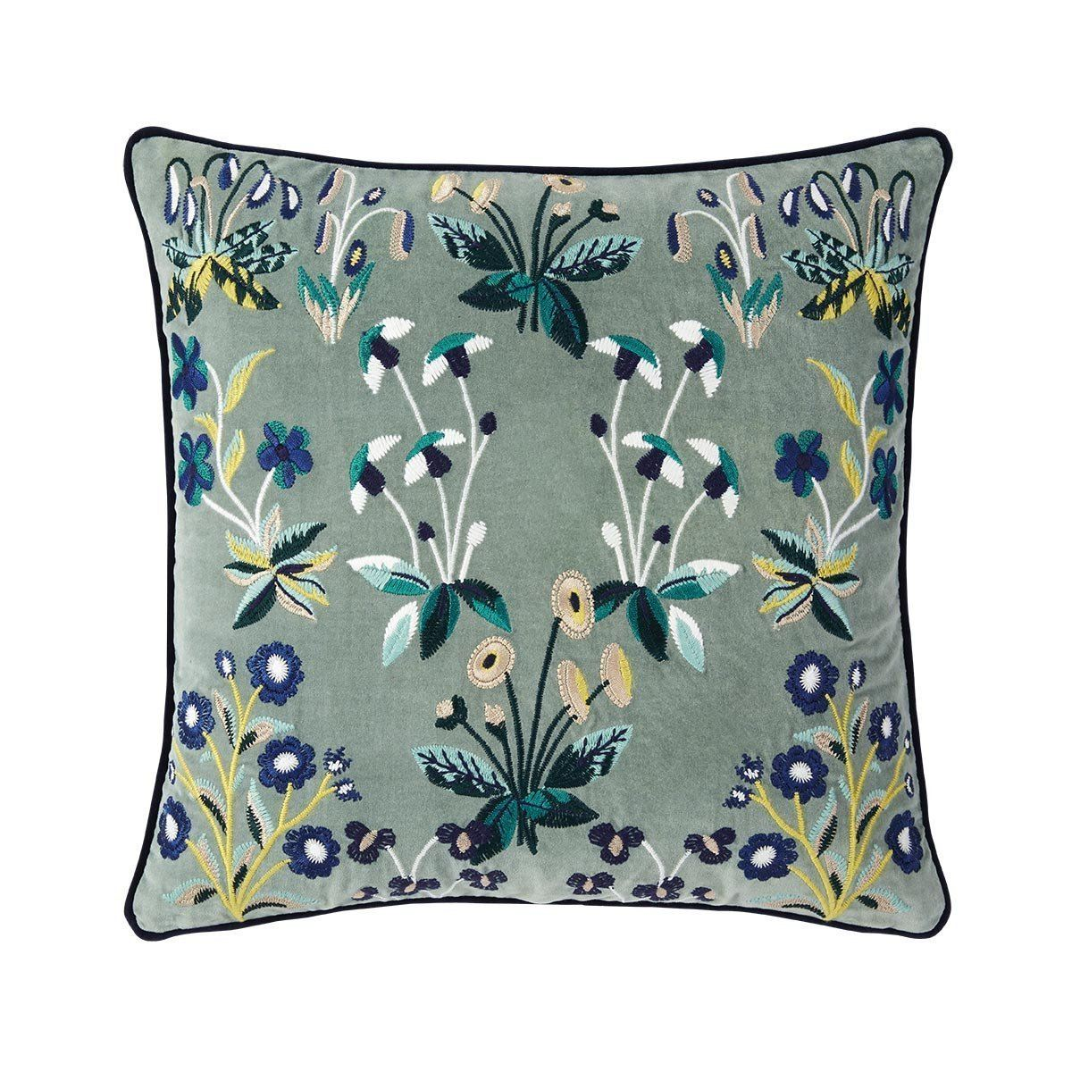 Renaissance Jade Floral Pillow by Iosis