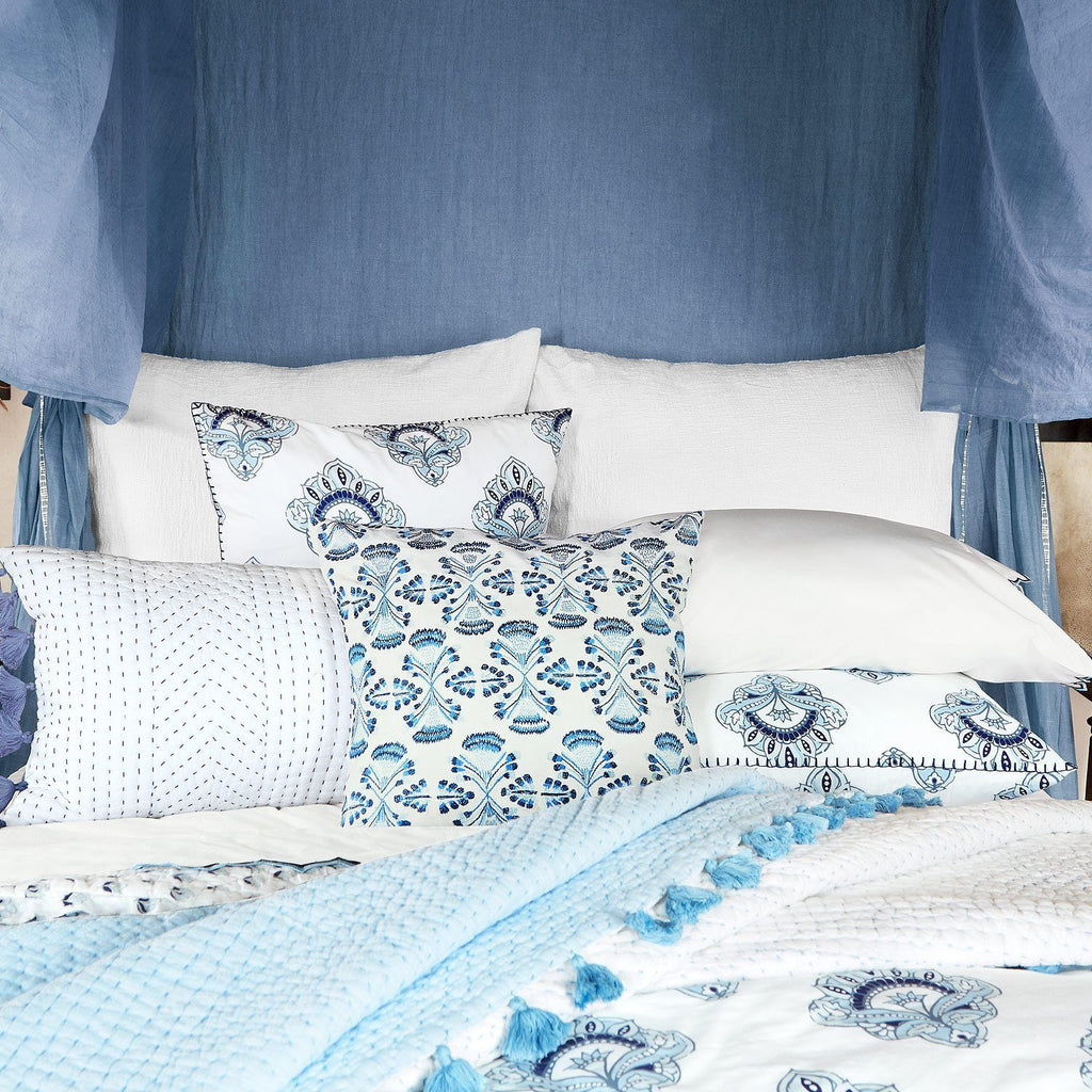Fig Linens - Sahati Light Indigo Throw with Tharu Bedding by John Robshaw