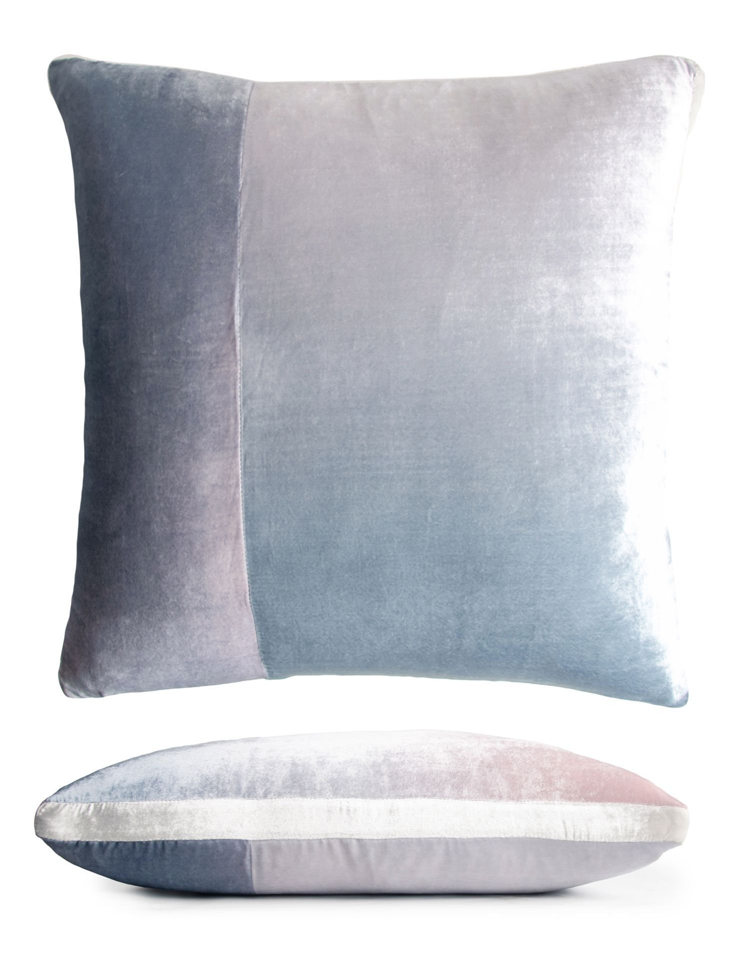 Fig Linens - Moonstone Color Block Velvet Pillow by Kevin O'Brien Studio