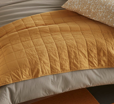 Fig Linens - 4 Square Honey Coverlet by Peacock Alley