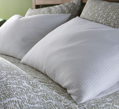 Fig Linens - Olive Grid Bedding by Peacock Alley  - Close up