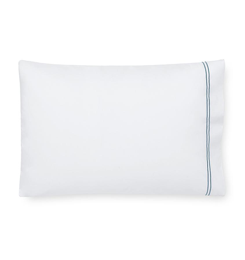 Fig Linens - Sferra Grande Hotel Bedding - White and cadet blue case