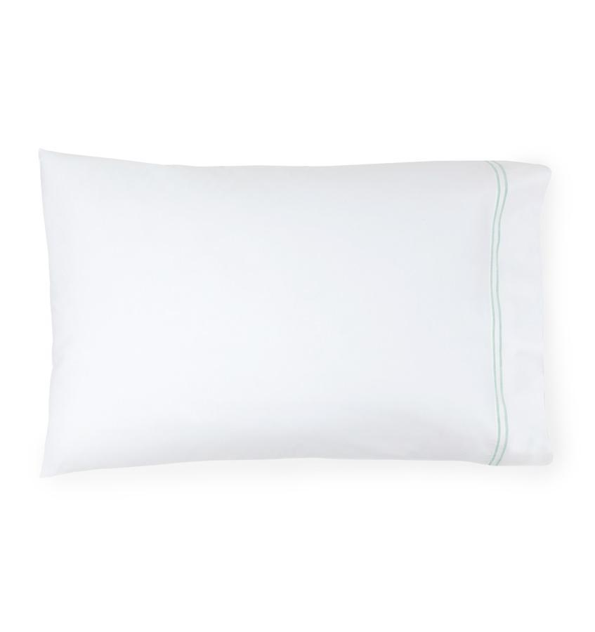 Fig Linens - Sferra Grande Hotel Bedding - White and Mist Pillowcase