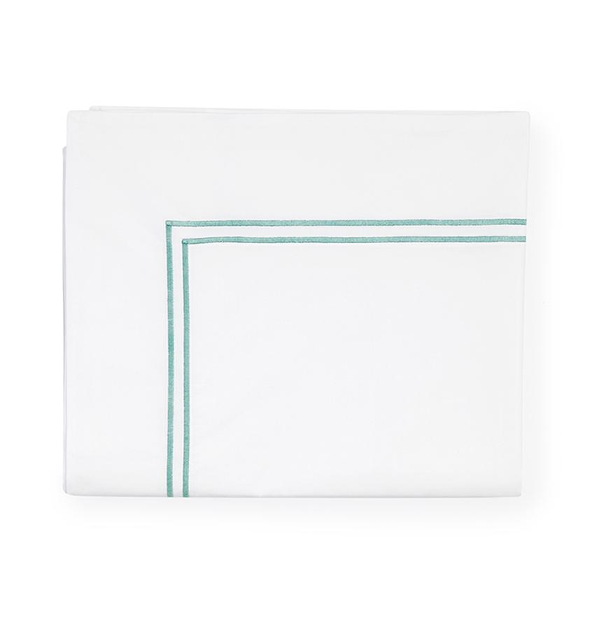 Fig Linens - Sferra Grande Hotel Bedding - White and aqua flat sheet