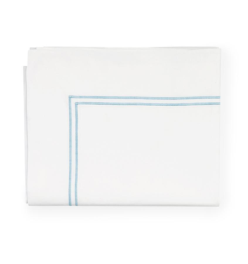 Fig Linens - Sferra Grande Hotel Bedding - White and blue flat sheet