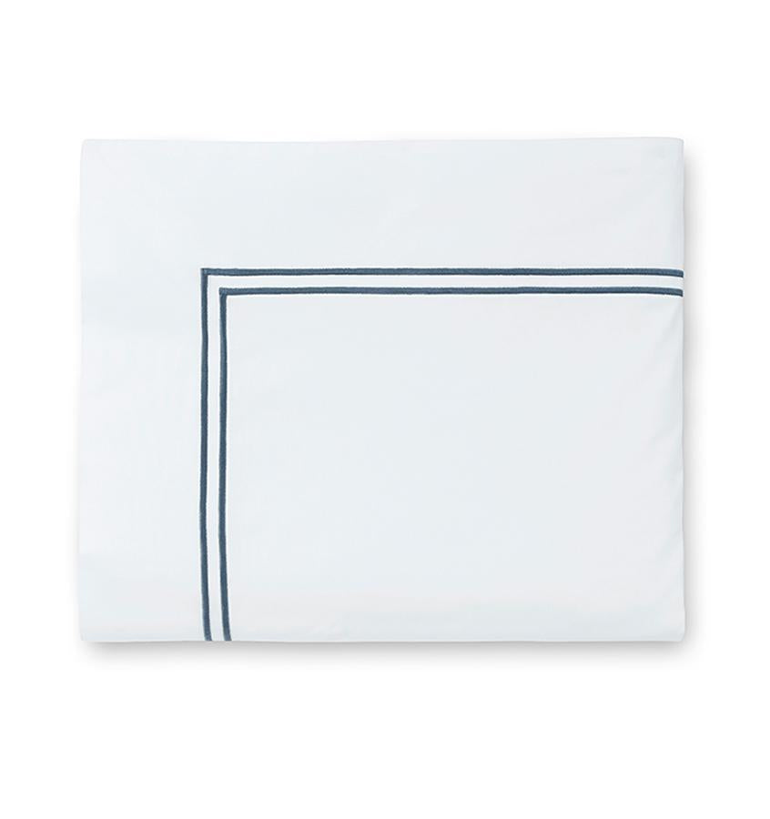 Fig Linens - Sferra Grande Hotel Bedding - White and cadet flat sheet