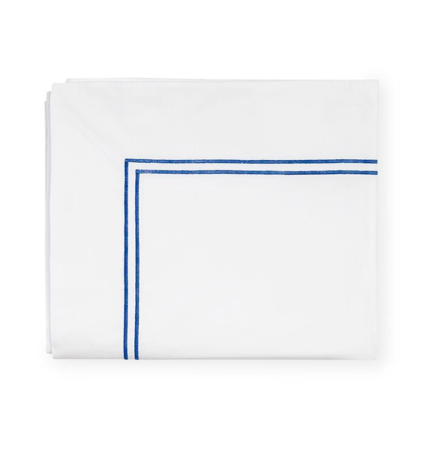 Fig Linens - Sferra Grande Hotel Bedding - White and cornflower flat sheet