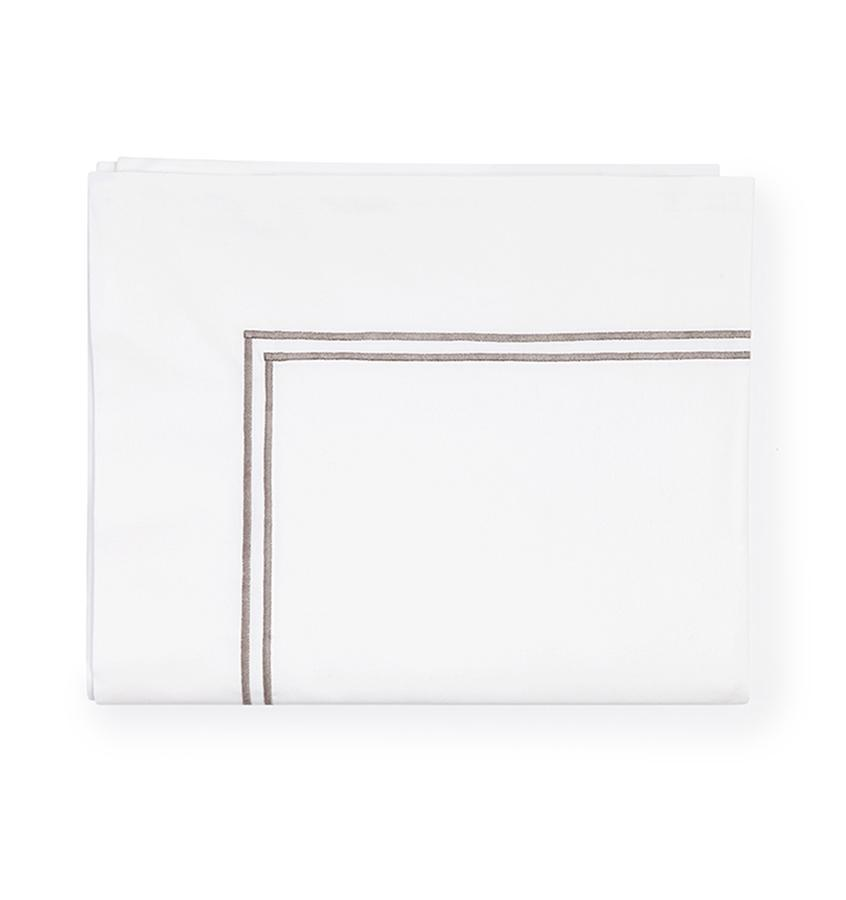 Fig Linens - Sferra Grande Hotel Bedding - White and grey flat sheet