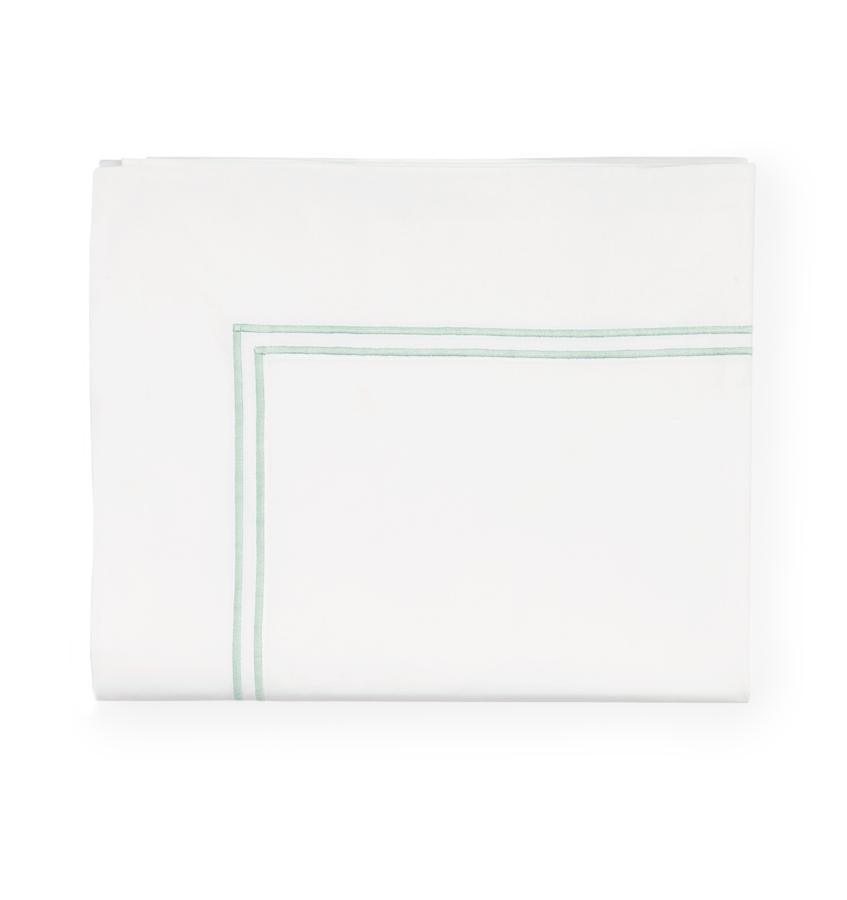 Fig Linens - Sferra Grande Hotel Bedding - White and Mist Flat Sheet
