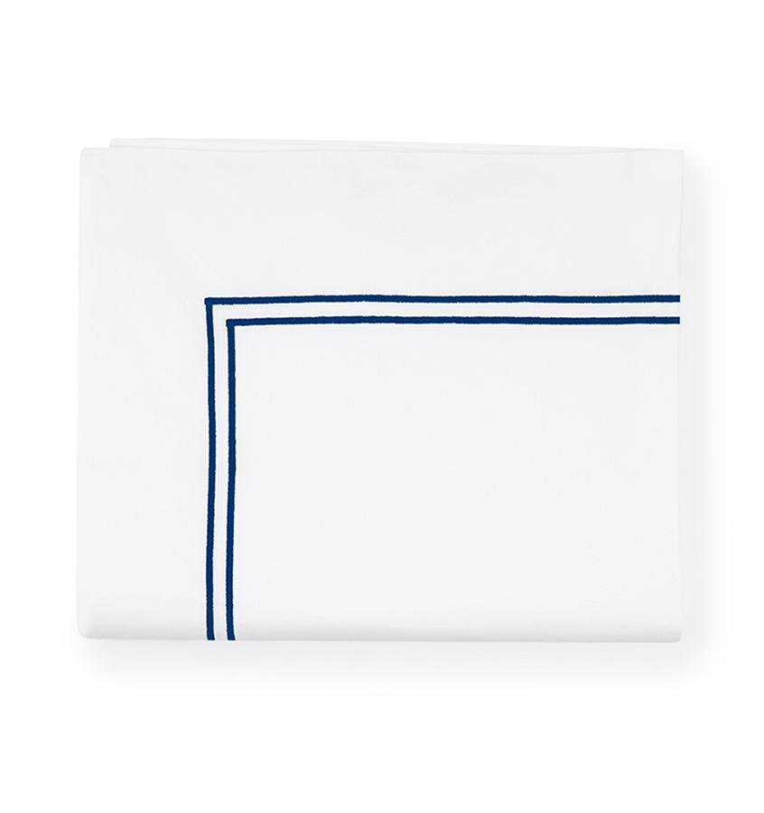Fig Linens - Sferra Grande Hotel Bedding - White and navy flat sheet