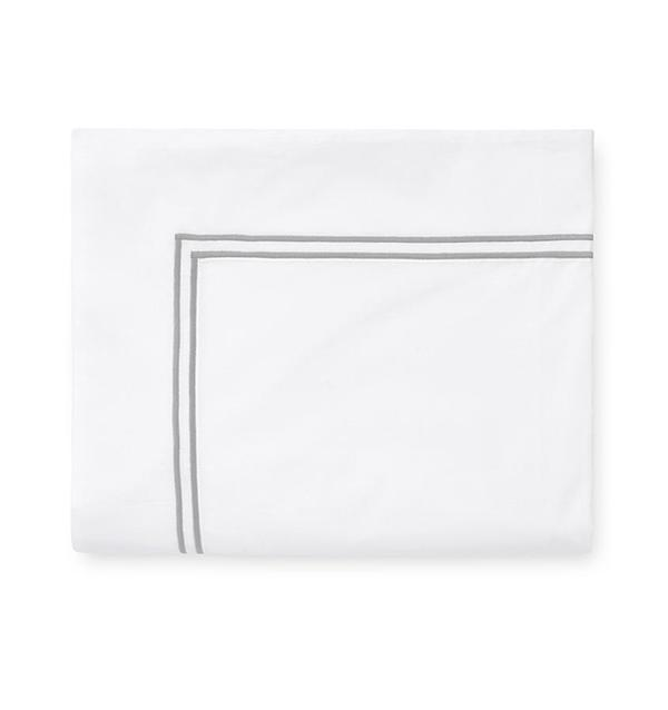 Fig Linens - Sferra Grande Hotel Bedding - White and silver flat sheet