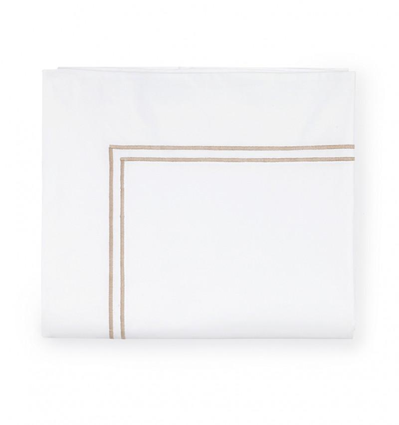 Fig Linens - Sferra Grande Hotel Bedding - White and taupe flat sheet
