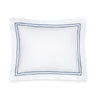 Fig Linens - Sferra Bedding - Grand Hotel White and Cadet Blue Sham