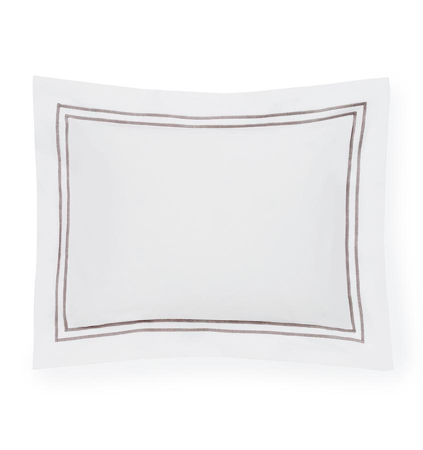 Fig Linens - Sferra Bedding - Grand Hotel White and Grey Sham