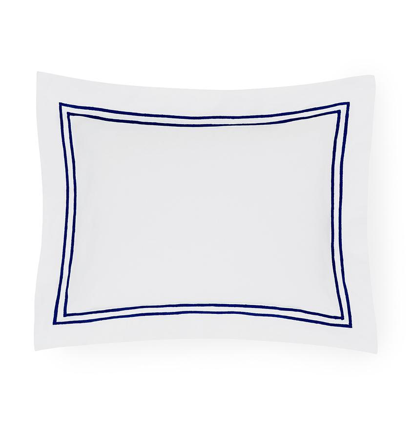 Fig Linens - Sferra Bedding - Grand Hotel White and Navy Sham