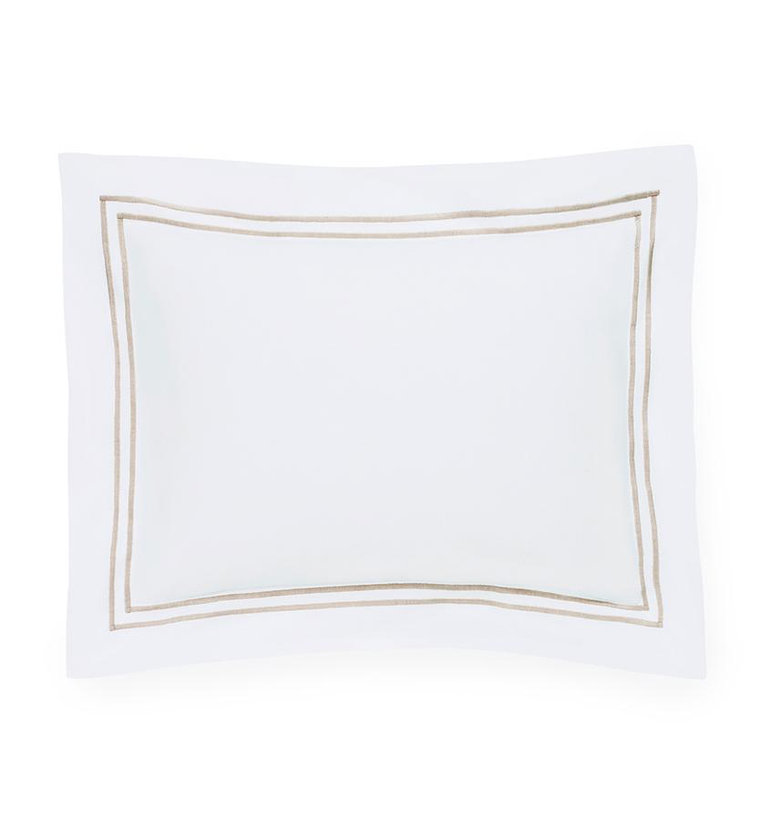 Fig Linens - Sferra Bedding - Grand Hotel White and Taupe Sham