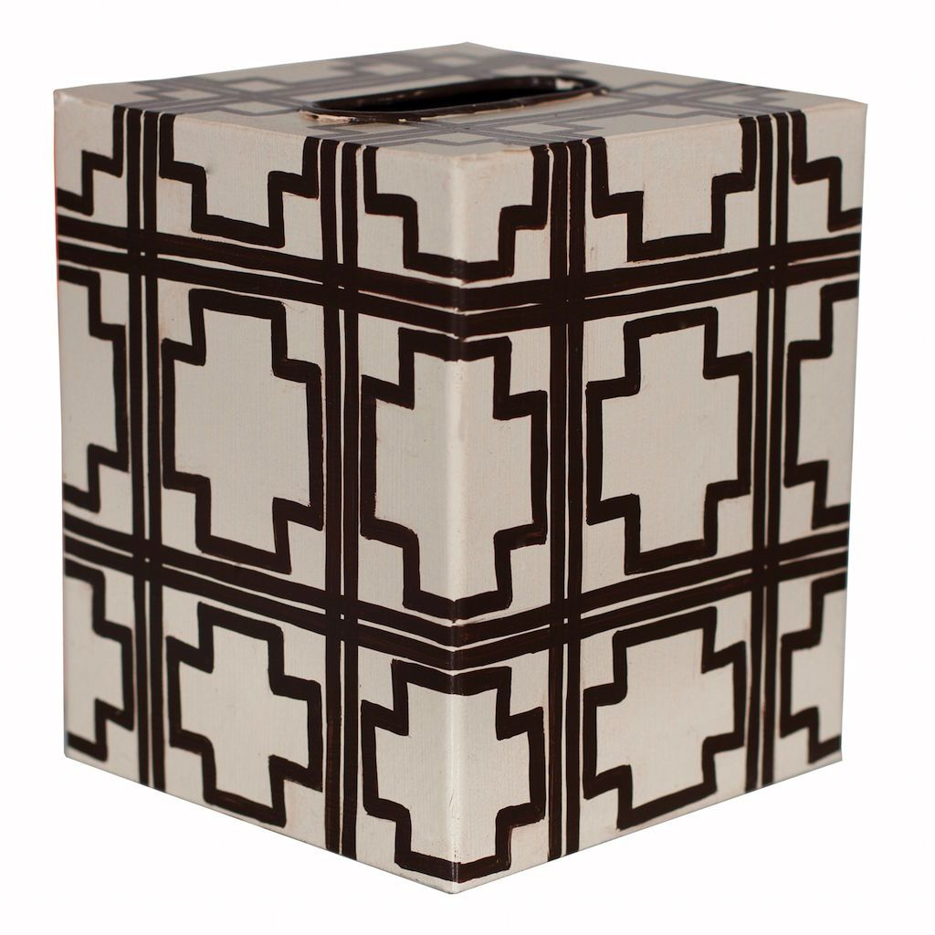Cream & Brown Tissue Box Cover by Worlds Away | Fig Linens
