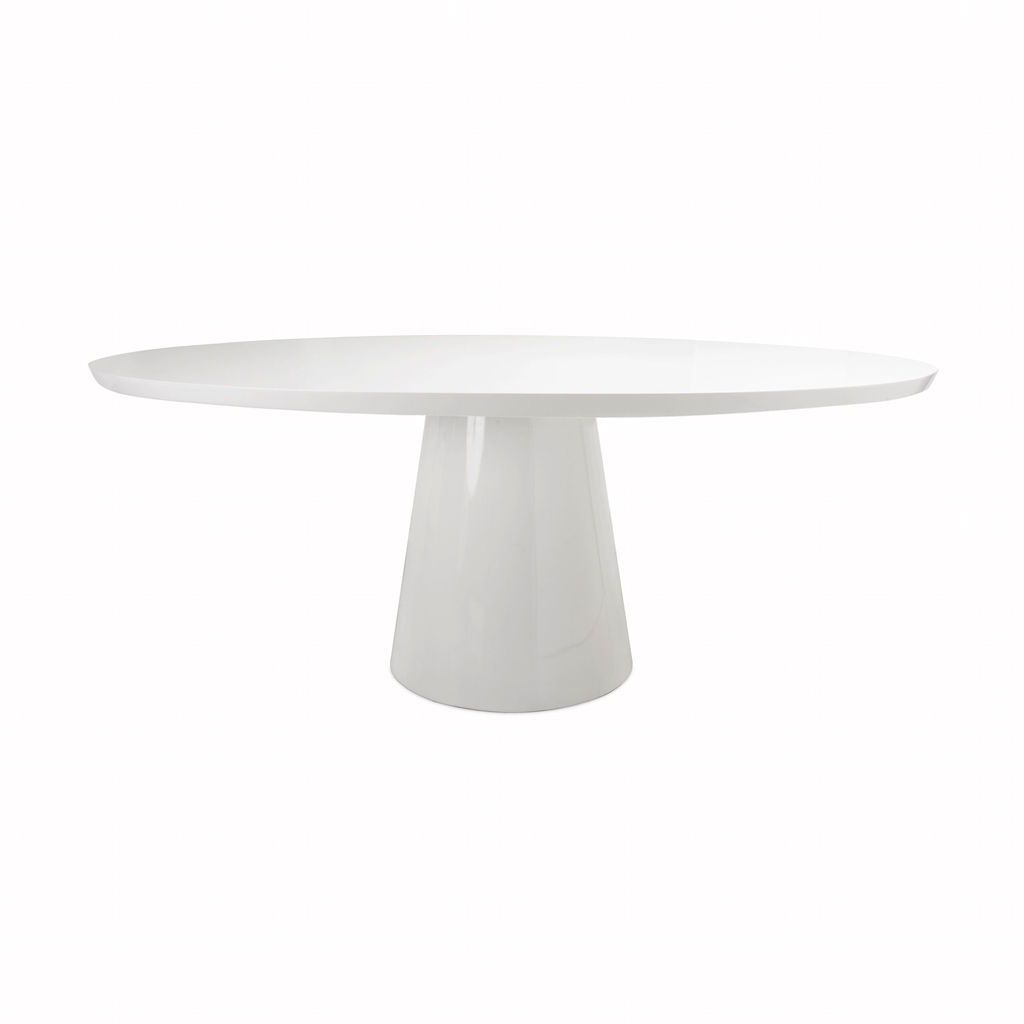 Jefferson White Oval Dining Table by Worlds Away