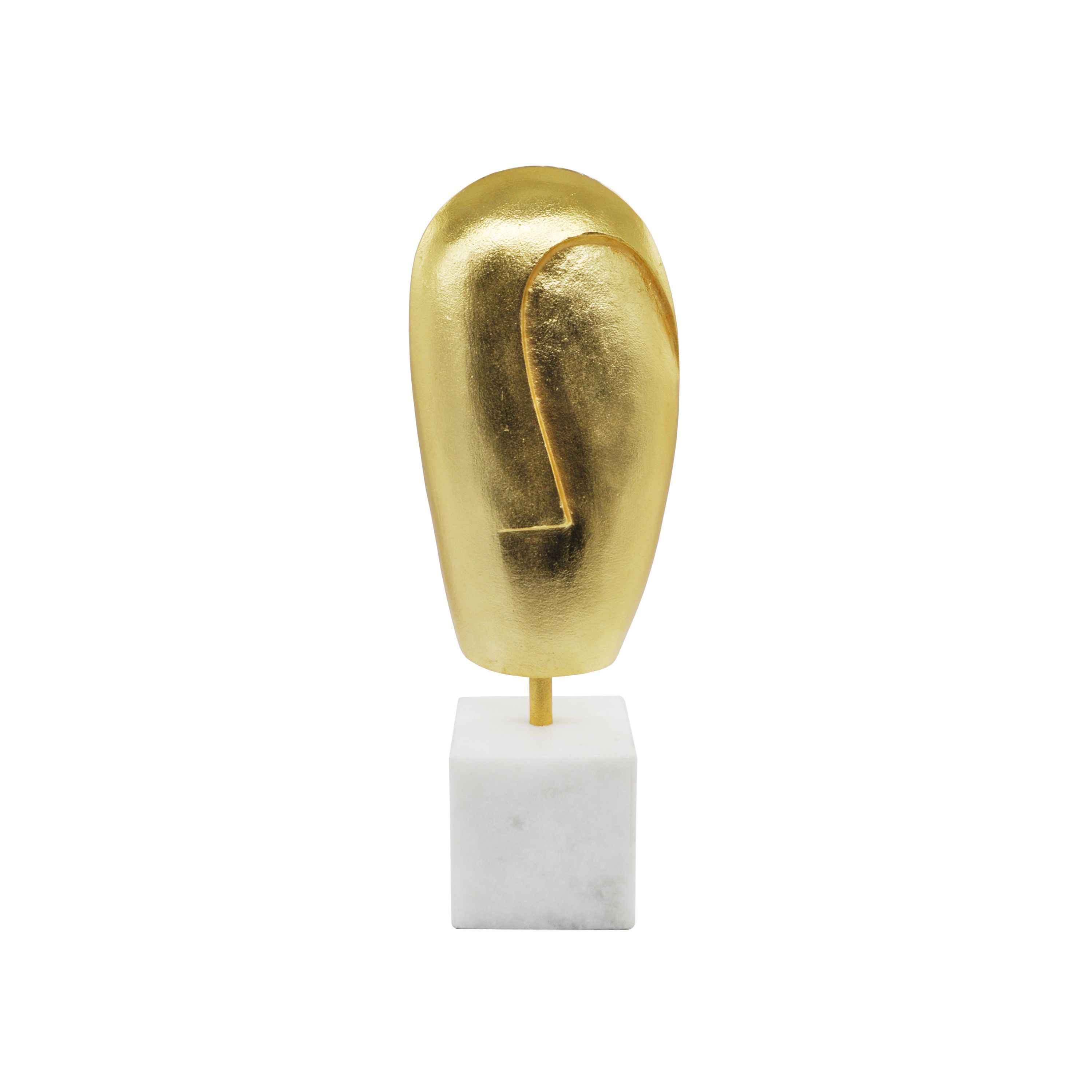 Abbie Gold Abstract Face Sculpture on White Marble