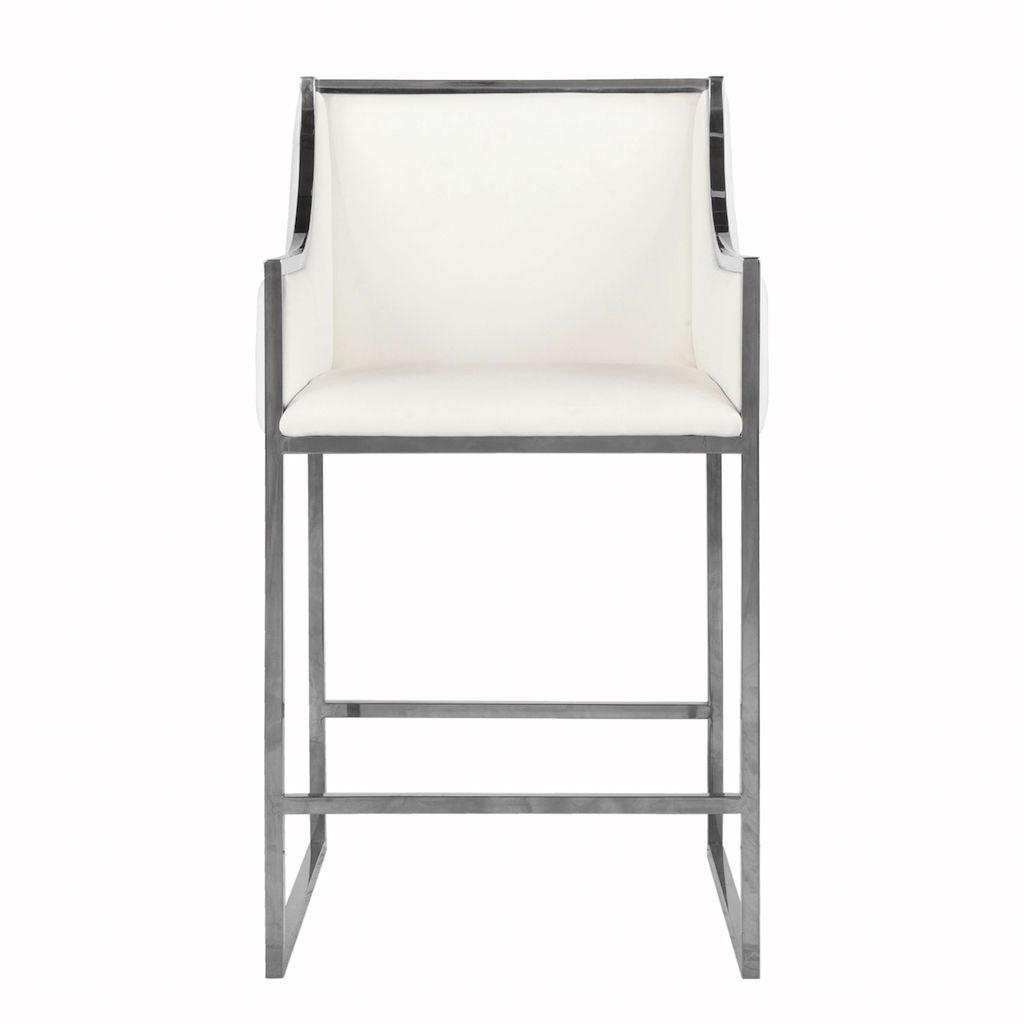 Fig Linens - Hazel White Leather Counter Stool by Worlds Away