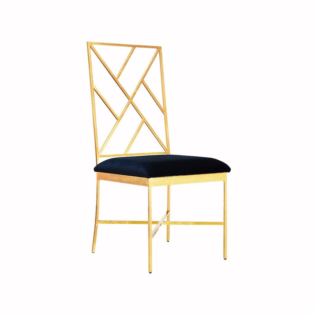 Ashton Gold & Navy Velvet Chair by Worlds Away