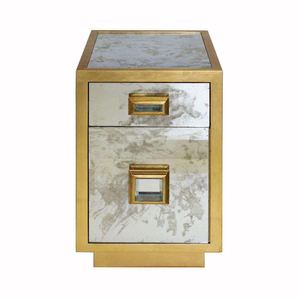 Cisco Antique Mirror & Gold Side Table by Worlds Away | Fig Linens
