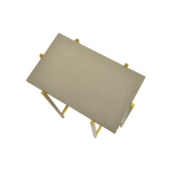 Worlds Away - Avni Antique Brass & Grey Shagreen Rectangular Side Table | Fig Linens